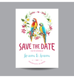 Wedding card tropical flowers and parrot bird vector