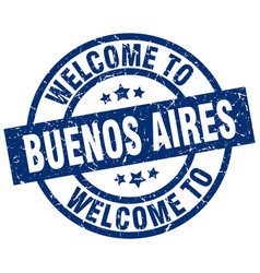 Welcome to buenos aires blue stamp vector