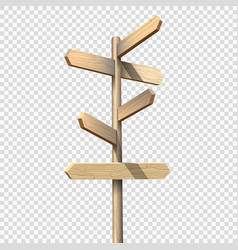Wooden signpost on transparent background vector