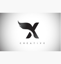 X letter wings logo design with black bird fly vector