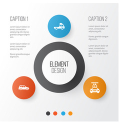Automobile icons set collection of van car vector