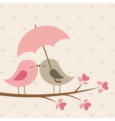 Birds under umbrella vector image vector image