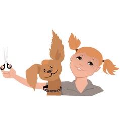 Dog groomer girl vector image