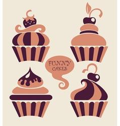 funny cartoon cupcakes collection vector image