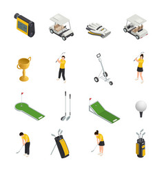 golf colored isometric isolated icons vector image