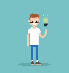 idea concept aha moment young smiling nerd is vector image vector image