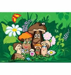 mushroom family vector image vector image