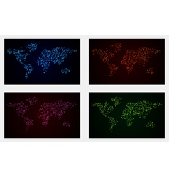 Set of 4 Glowing Dot World Maps Backgrounds vector image