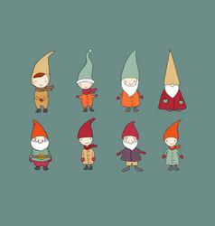 set of cute cartoon gnomes funny elves vector image