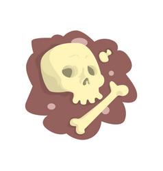 skull and bones lying in the ground cartoon vector image