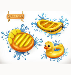 summer yellow inflatable toys and water splashes vector image vector image