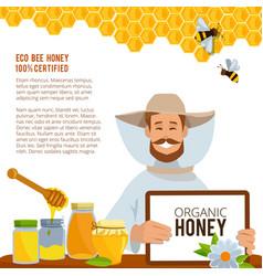 at beekeeping theme poster vector image