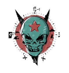 evil skull with a star on his forehead gothic vector image vector image