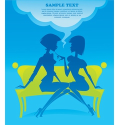 fashionable chatting girls silhouettes vector image vector image
