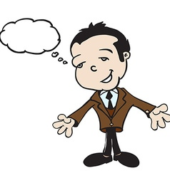 little boy in a business suit with thought bubble vector image vector image