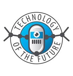 Round logo robot with eye vector