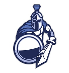 spartan mascot with shield and the sword vector image