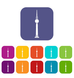 tower icons set vector image