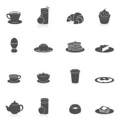 Breakfast Icons Black vector image vector image