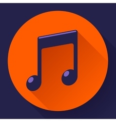 pink music icon with long shadow Flat vector image