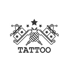 tattoo salon label with two crossed mechanic ink vector image vector image