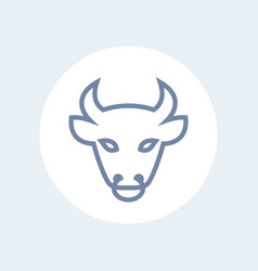 bull head line icon outline isolated on white vector image vector image