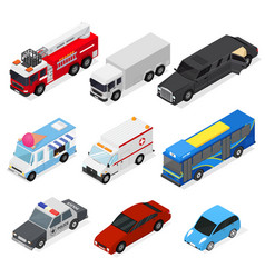cars set isometric view vector image vector image