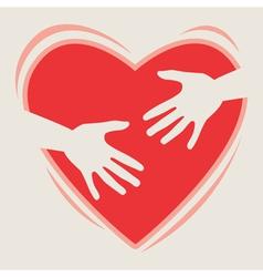 heart in hands vector image vector image