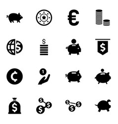 16 coin icons vector image