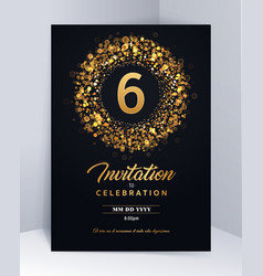 6 years anniversary invitation card template vector