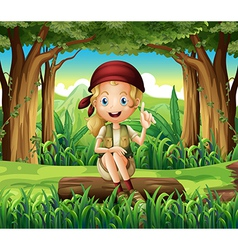 A forest with young girl sitting above log vector