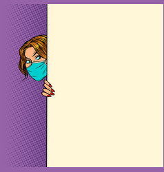 A woman in medical mask poster advertising vector