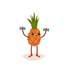 adorable pineapple doing exercise with dumbbells vector image