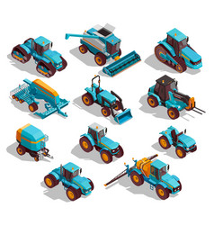 Agricultural machines isometric icons set vector