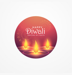 awesome diwali greeting card design with burning vector image