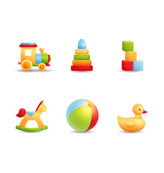Baby first toys realistic icon collection vector