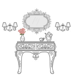 Baroque bedside commode furniture rich set vector