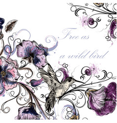 Beautiful back with orchid flowers hummingbirds vector