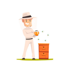 beekeeper man with a jar of honey apiculture and vector image