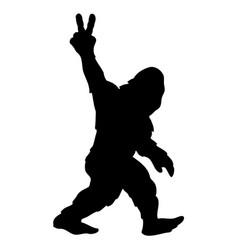 Bigfoot sasquatch yeti peace sign silhouette vector