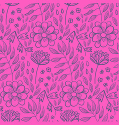 bright pink floral pattern with flowers and herbs vector image