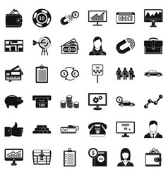 business group icons set simple style vector image