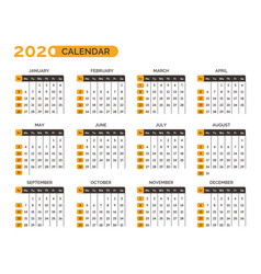 calendar for 2020 year with months and weeks vector image