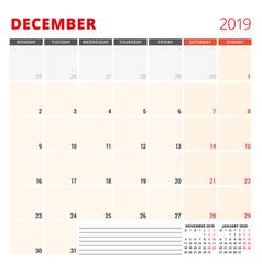 calendar planner template for december 2019 week vector image