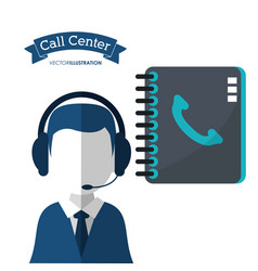 call center man assistance directory contact vector image