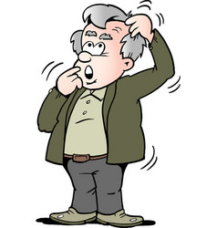 cartoon of a old man there is thinking vector image