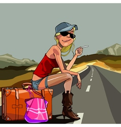 cartoon woman sitting on a suitcase vector image