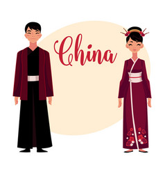Chinese people in national costumes dress and vector