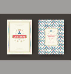 christmas greeting card vintage design ornate vector image