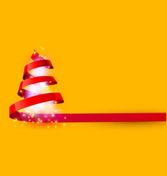 christmas tree made red ribbon new year and vector image